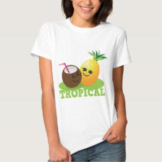 Coco y piña lindos TROPICALES de Kawaii Remeras
