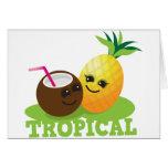 Coco y piña lindos TROPICALES de Kawaii Felicitaciones