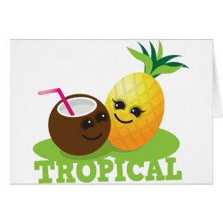 Coco y piña lindos TROPICALES de Kawaii Tarjeta De Felicitación