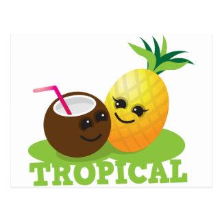 Coco y piña lindos TROPICALES de Kawaii Postal