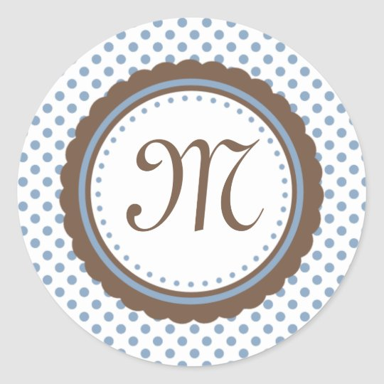 Cocoa and Blue Polka Dots Monogram Initial Sticker