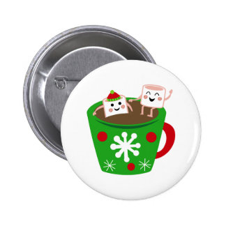 COCOA AND MARSHMELLOWS 2 INCH ROUND BUTTON