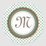 Cocoa and Mint Polka Dots Monogram Initial Sticker