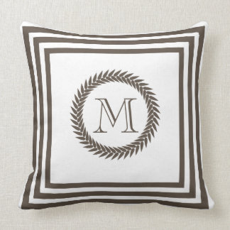 Cocoa and White Resort Spa Style Monogram Throw Pillow