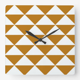Cocoa and White Triangles Square Wall Clock