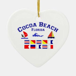 Cocoa Beach FL Signal Flags Ceramic Ornament