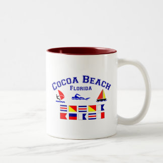 Cocoa Beach FL Signal Flags Two-Tone Coffee Mug
