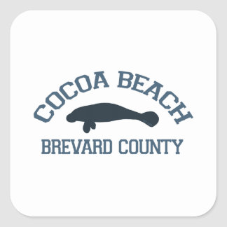 Cocoa Beach - Manatee Design. Square Sticker