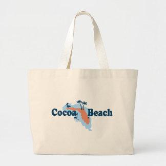 Cocoa Beach - Map Design. Large Tote Bag