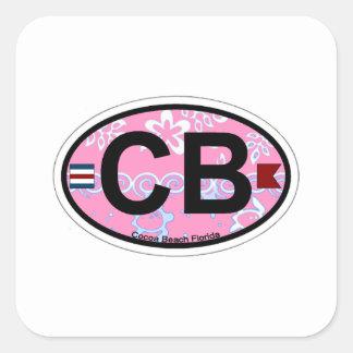 Cocoa Beach - Oval Design. Square Sticker