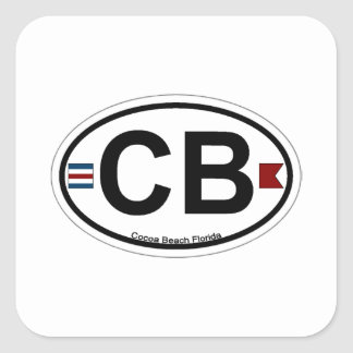 Cocoa Beach - Oval. Square Sticker