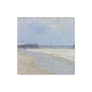 Cocoa Beach Pier Stone Magnet