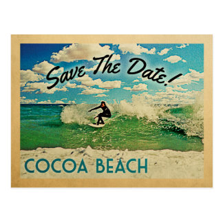 Cocoa Beach Save The Date Florida Surfing Postcard