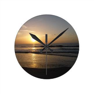 Cocoa Beach sunrise Round Clock