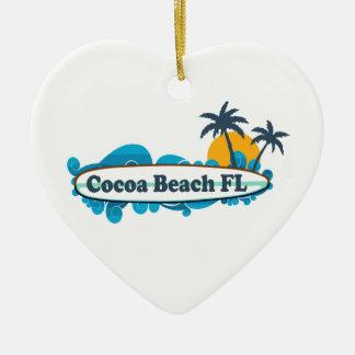 Cocoa Beach - Surf. Double-Sided Heart Ceramic Christmas Ornament