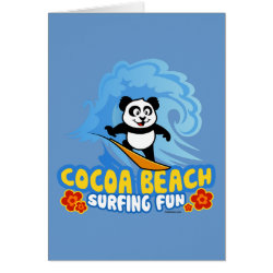 Greeting Card with Cocoa Beach Surfing Panda design