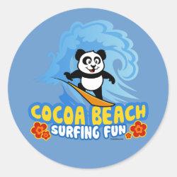 Round Sticker with Cocoa Beach Surfing Panda design