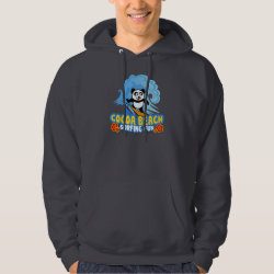 Men's Basic Hooded Sweatshirt with Cocoa Beach Surfing Panda design