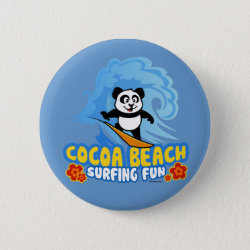 Cocoa Beach Surfing Panda Round Button