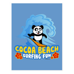 Postcard with Cocoa Beach Surfing Panda design