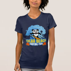 Women's American Apparel Fine Jersey Short Sleeve T-Shirt with Cocoa Beach Surfing Panda design