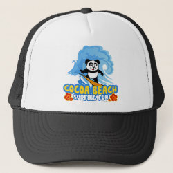 Trucker Hat with Cocoa Beach Surfing Panda design
