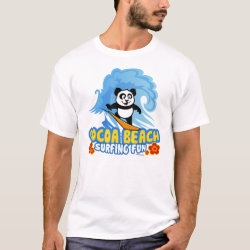 Men's Basic T-Shirt with Cocoa Beach Surfing Panda design