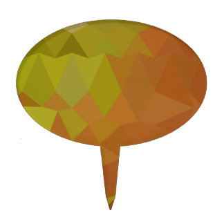 Cocoa Brown Abstract Low Polygon Background Cake Topper