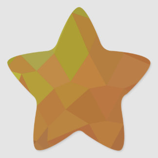 Cocoa Brown Abstract Low Polygon Background Star Sticker