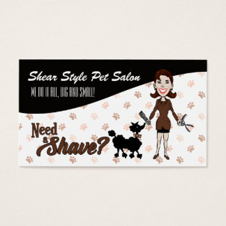 Cocoa Brown and Black Need a Shave Pet Grooming Business Card