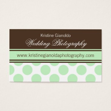 Professional Business Cocoa Brown and Mint Dots Business Cards