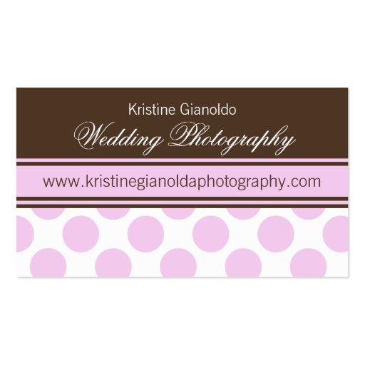 Cocoa Brown and Pink Dots Business Cards