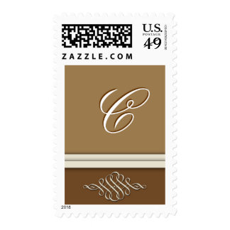 Cocoa brown / chocolate brown - Monogram C Postage Stamps