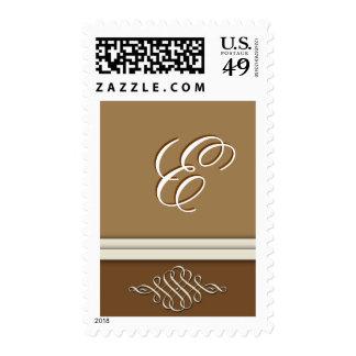 Cocoa brown / chocolate brown - Monogram E Stamps