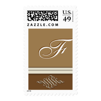 Cocoa brown / chocolate brown - Monogram F Stamp