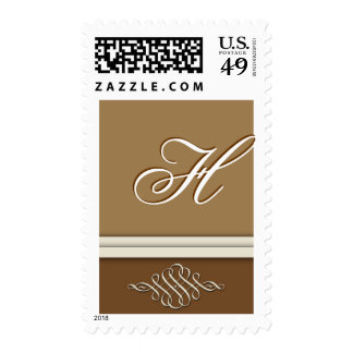 Cocoa brown / chocolate brown - Monogram H Postage