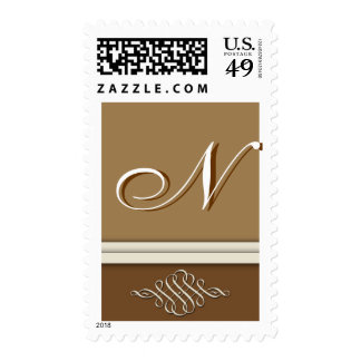 Cocoa brown / chocolate brown - Monogram N Postage Stamps