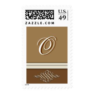 Cocoa brown / chocolate brown - Monogram O Postage Stamp