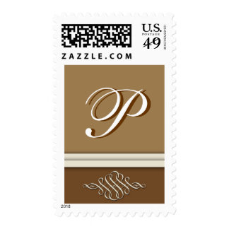 Cocoa brown / chocolate brown - Monogram P Postage Stamp