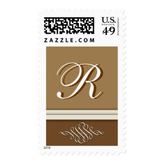 Cocoa brown / chocolate brown - Monogram R Stamps