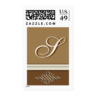 Cocoa brown / chocolate brown - Monogram S Postage Stamps