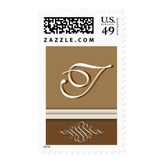 Cocoa brown / chocolate brown - Monogram T Postage