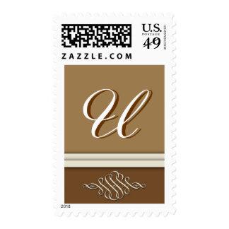 Cocoa brown / chocolate brown - Monogram U Postage Stamp