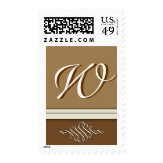 Cocoa brown / chocolate brown - Monogram W Postage Stamps