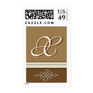 Cocoa brown / chocolate brown - Monogram X Postage Stamp