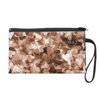Cocoa Brown Hearts Pattern Background Wristlet