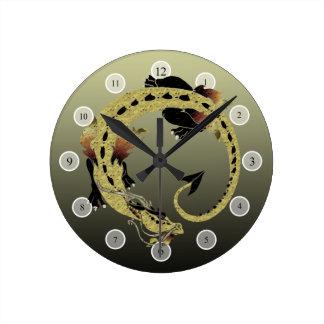 Cocoa Coiled Dragon Round Clock