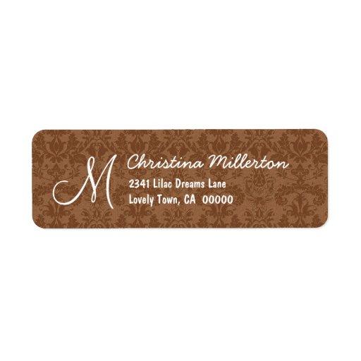 Cocoa Damask Monogram M Ver 001 Address Label