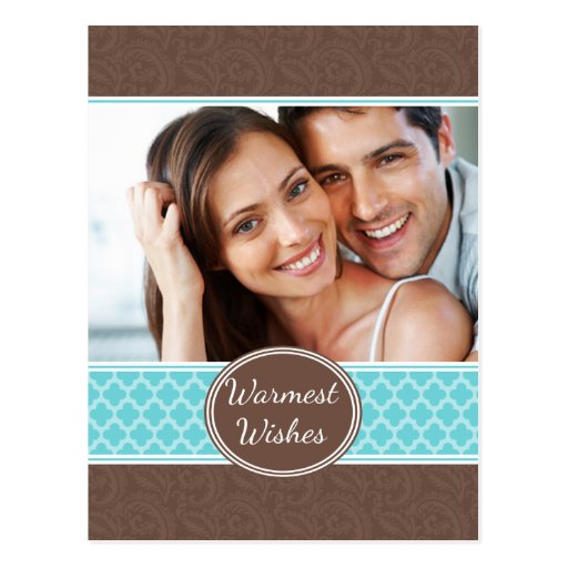 Cocoa Damask Teal Quatrefoil Holiday Postcard