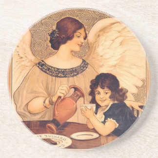 Cocoa Party Candy Angel Vintage Poster Drink Coaster